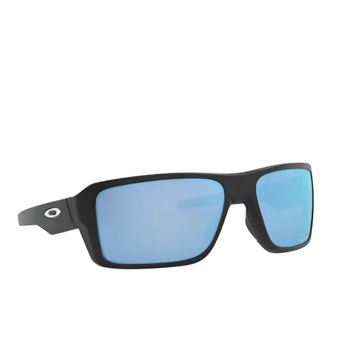 Oakley® Rectangle Sunglasses: Double Edge OO9380 color Matte Black 938013 - three-quarters view.