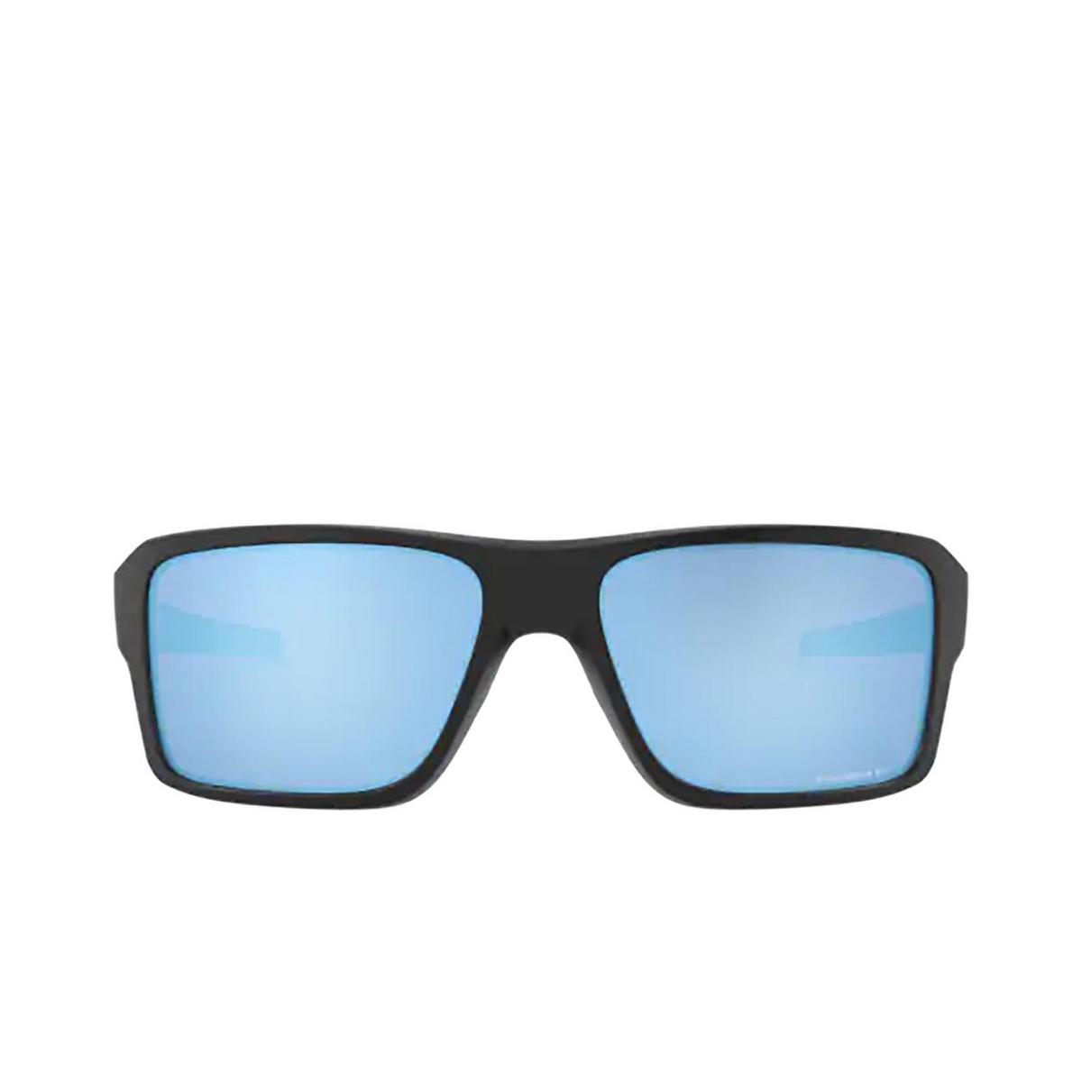 Oakley® Rectangle Sunglasses: Double Edge OO9380 color Matte Black 938013 - front view.