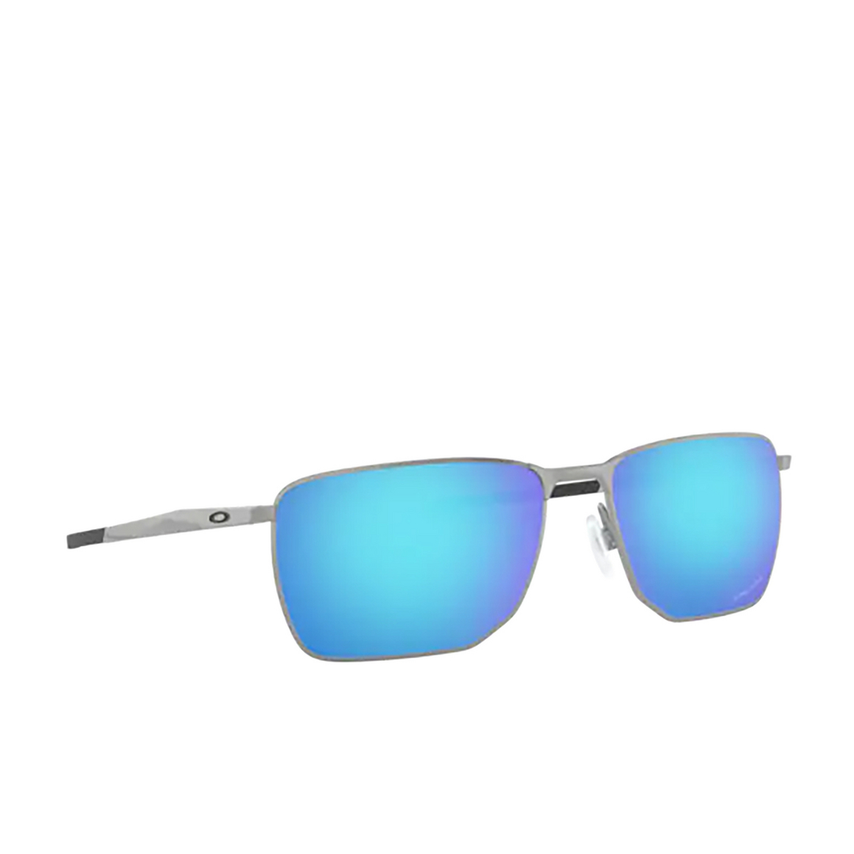 Oakley® Rectangle Sunglasses: Ejector OO4142 color Satin Chrome 414204 - three-quarters view.