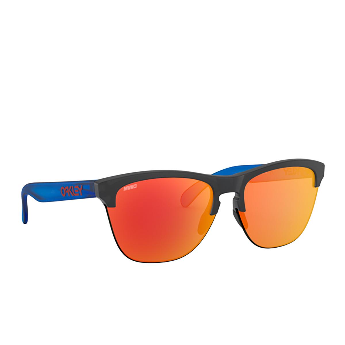 Oakley® Round Sunglasses: Frogskins Lite OO9374 color Matte Black Ink 937427 - 2/3.