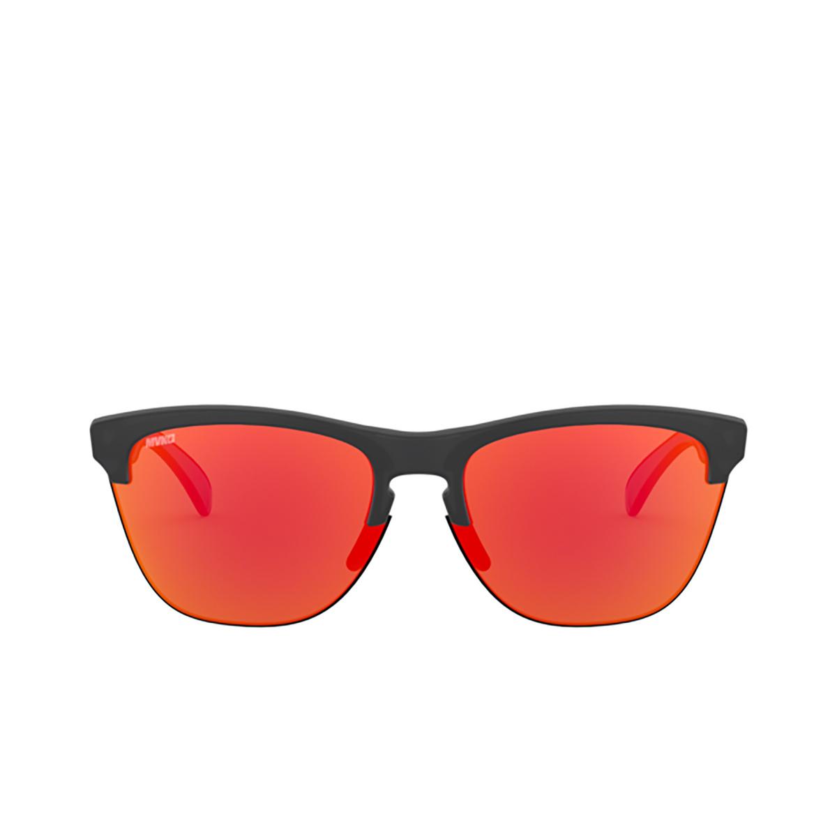 Oakley® Round Sunglasses: Frogskins Lite OO9374 color Matte Black Ink 937427 - 1/3.