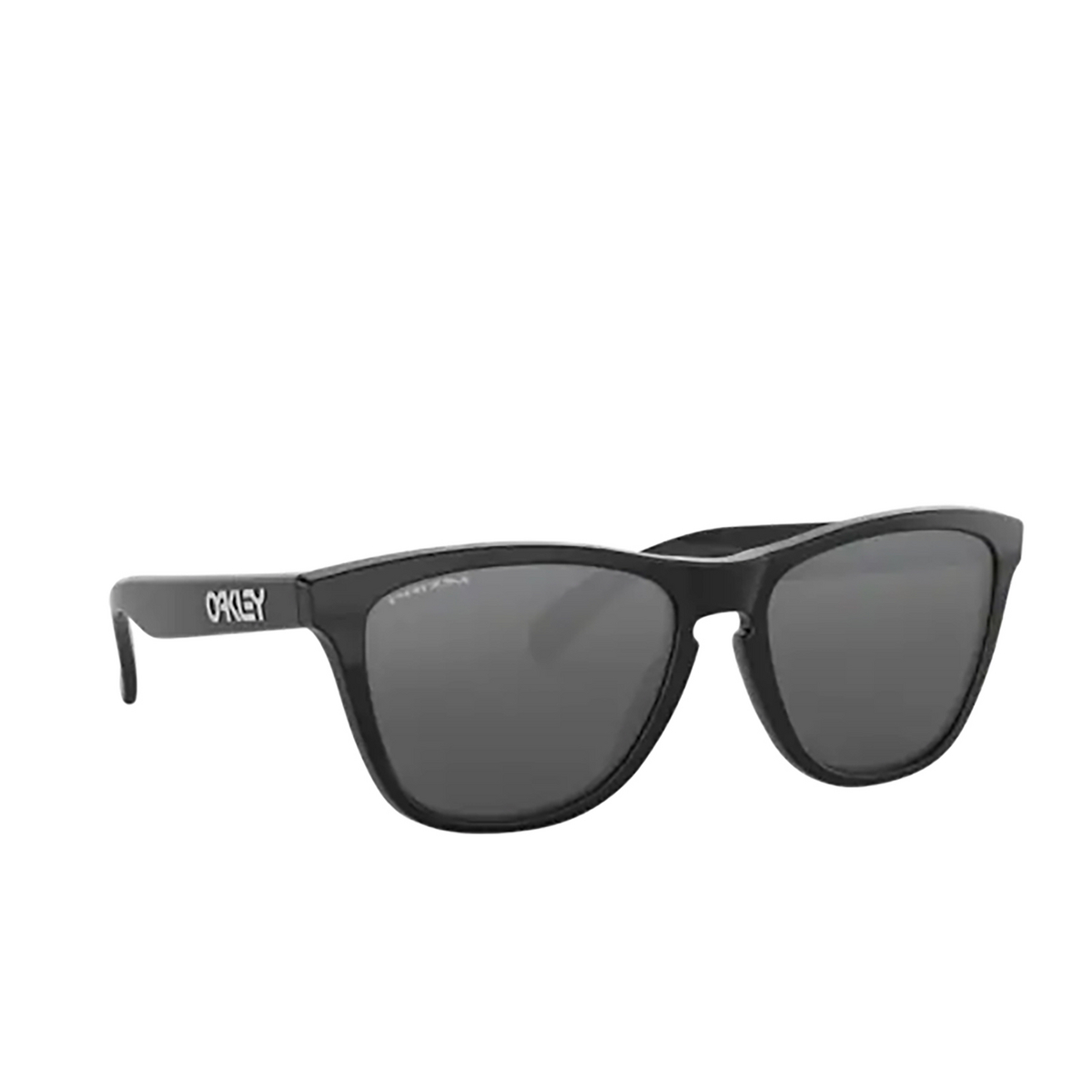 Oakley® Square Sunglasses: Frogskins OO9013 color Polished Black 9013C4 - three-quarters view.
