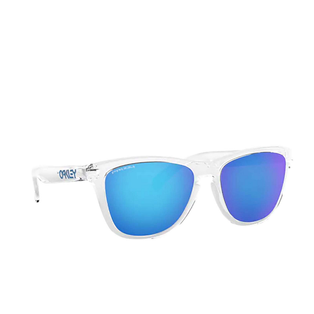 Oakley® Square Sunglasses: Frogskins OO9013 color Crystal Clear 9013D0 - three-quarters view.