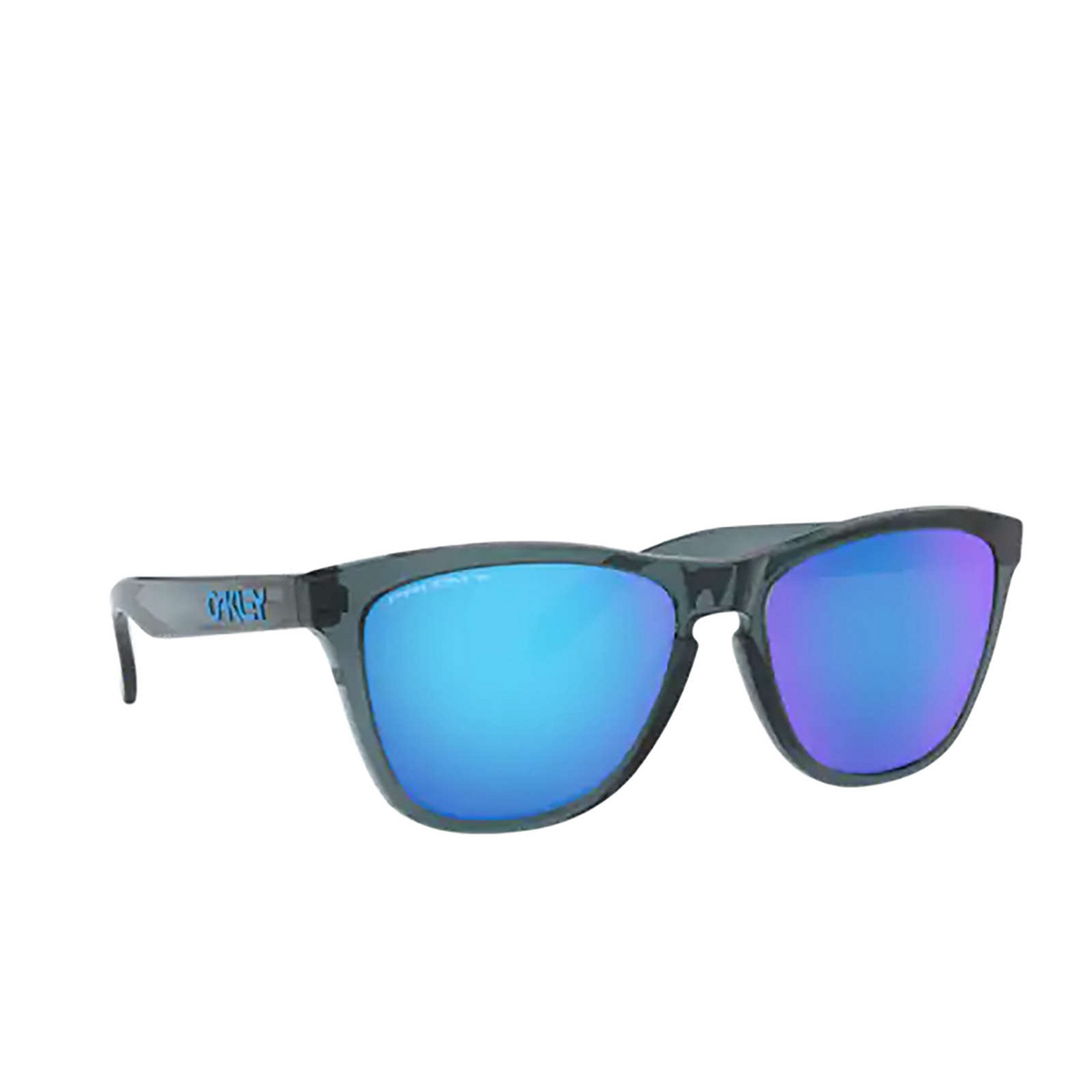 Oakley® Square Sunglasses: Frogskins OO9013 color Crystal Black 9013F6 - three-quarters view.