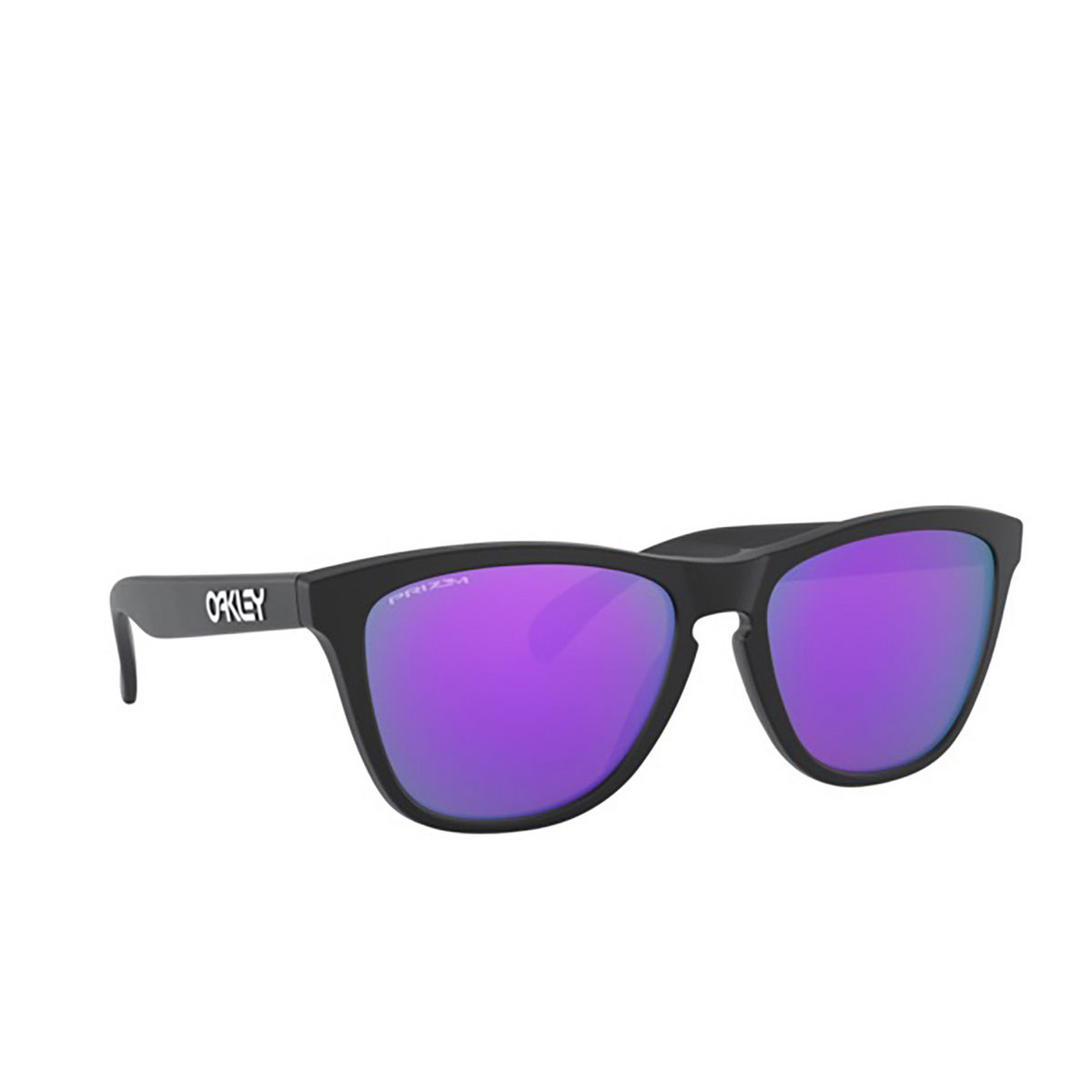 Oakley® Square Sunglasses: Frogskins OO9013 color Matte Black 9013H6 - three-quarters view.
