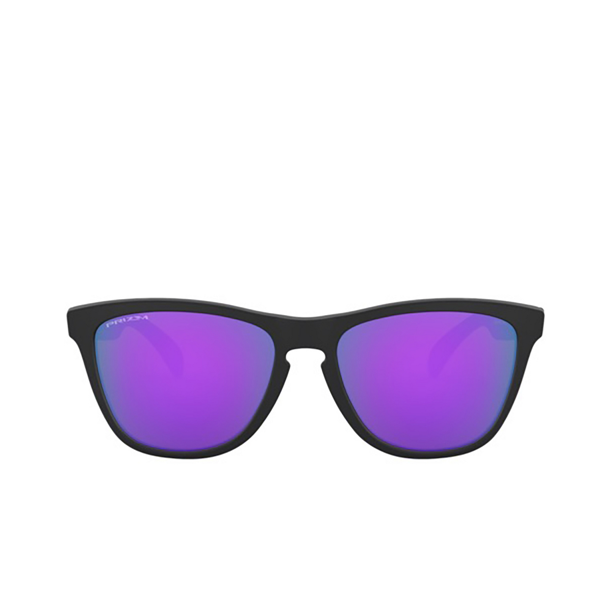 Oakley® Square Sunglasses: Frogskins OO9013 color Matte Black 9013H6 - front view.