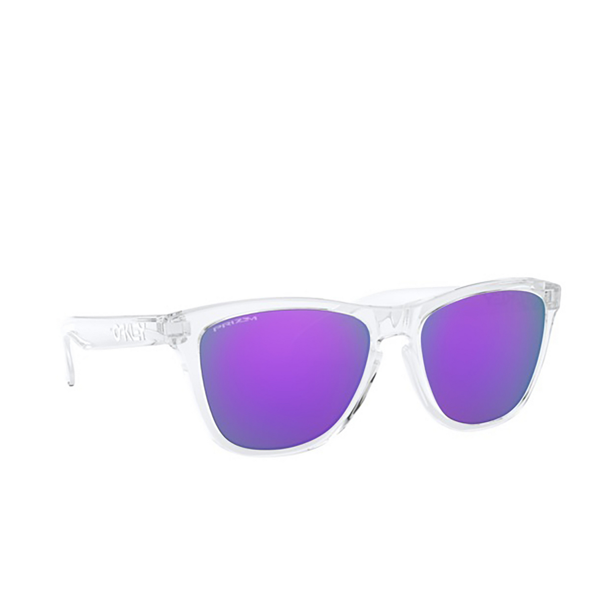 Oakley® Square Sunglasses: Frogskins OO9013 color Polished Clear 9013H7 - three-quarters view.