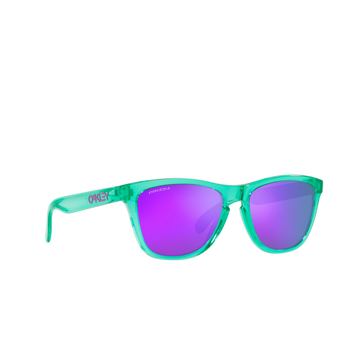 Oakley® Square Sunglasses: Frogskins OO9013 color Translucent Celeste 9013J8 - three-quarters view.