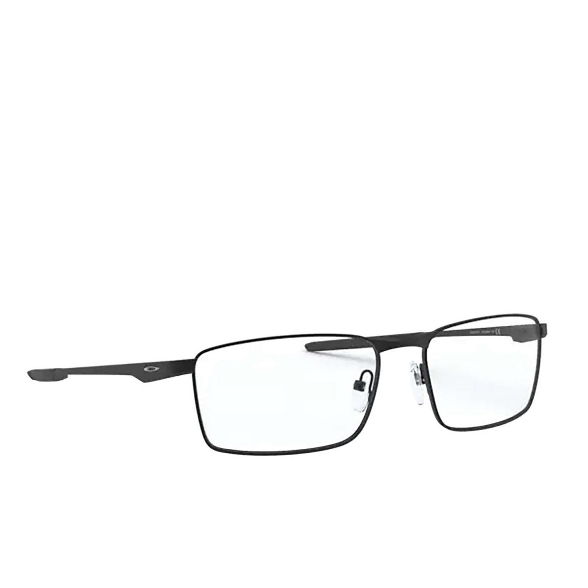 Oakley® Rectangle Eyeglasses: Fuller OX3227 color Satin Black 322701 - three-quarters view.
