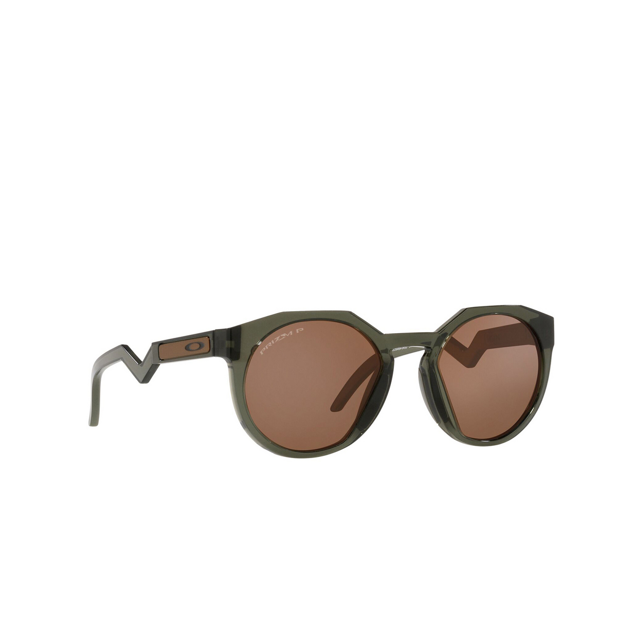 Oakley® Round Sunglasses: Hstn OO9464 color Olive Ink 946404 - three-quarters view.