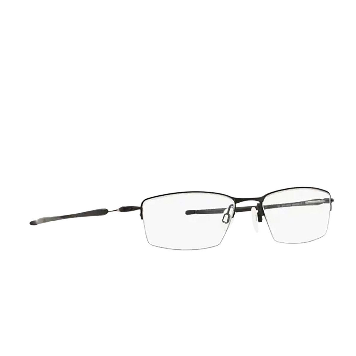 Oakley® Rectangle Eyeglasses: Lizard OX5113 color Satin Black 511301 - three-quarters view.