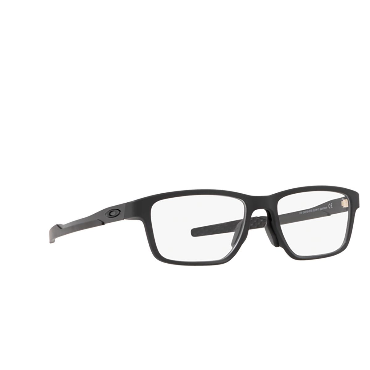 Oakley® Rectangle Eyeglasses: Metalink OX8153 color Satin Black 815301 - three-quarters view.