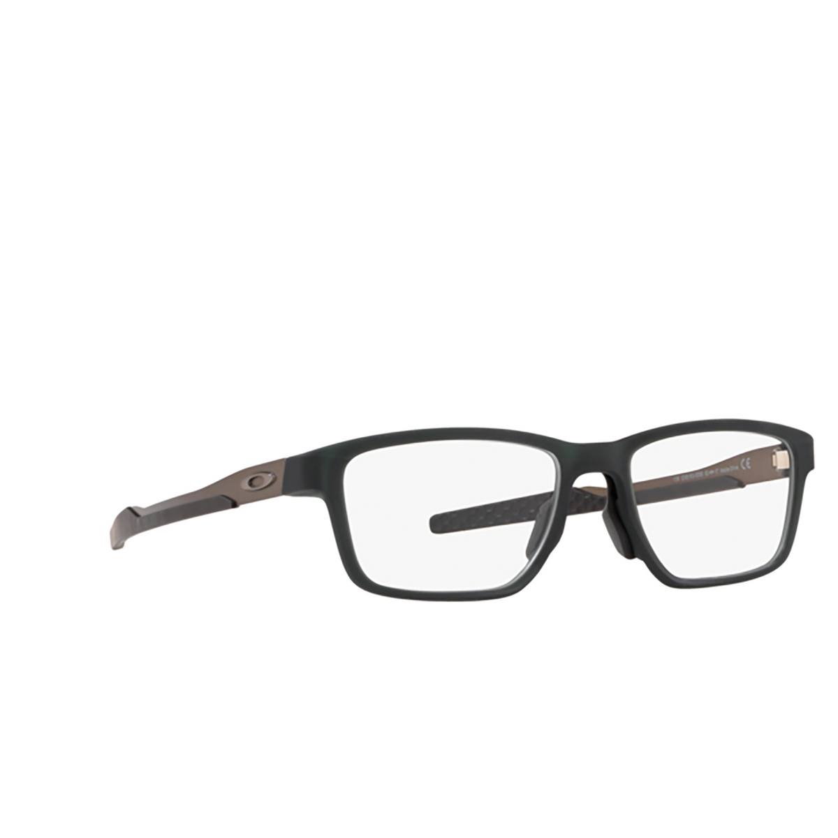 Oakley® Rectangle Eyeglasses: Metalink OX8153 color Matte Olive 815303 - three-quarters view.