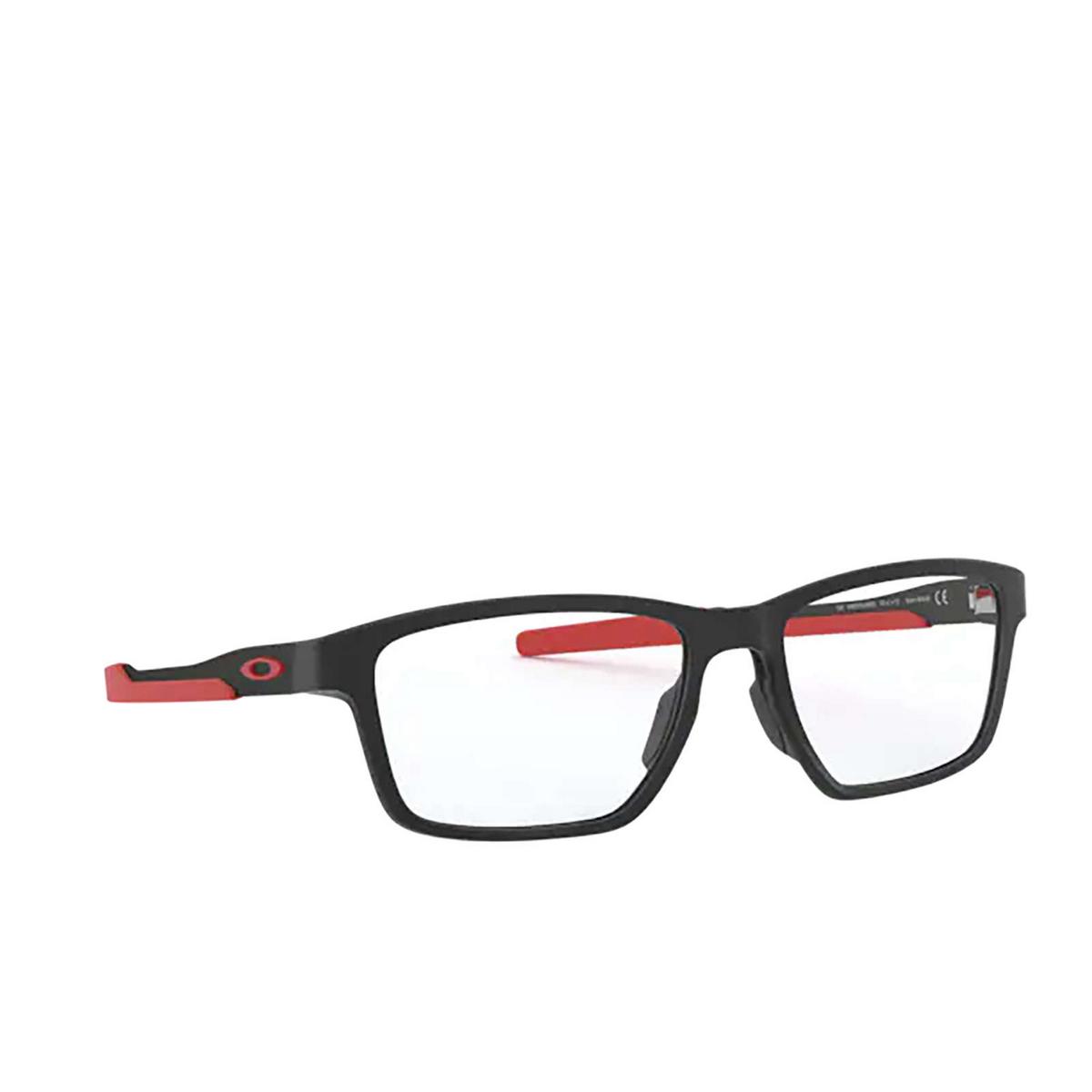 Oakley® Rectangle Eyeglasses: Metalink OX8153 color Satin Black 815306 - three-quarters view.