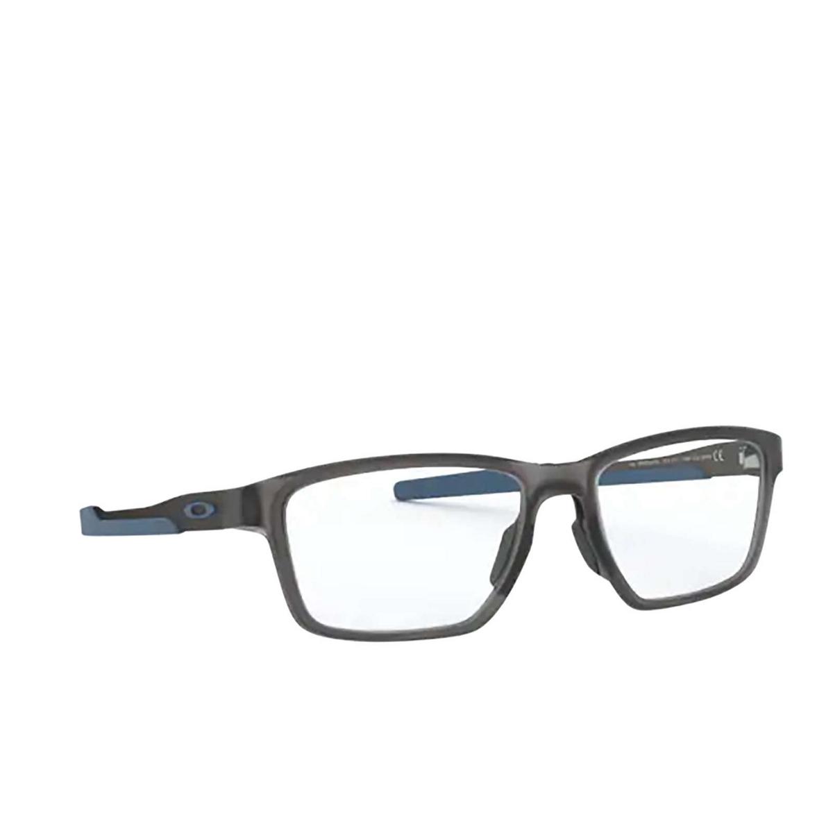 Oakley® Rectangle Eyeglasses: Metalink OX8153 color Satin Grey Smoke 815307 - three-quarters view.