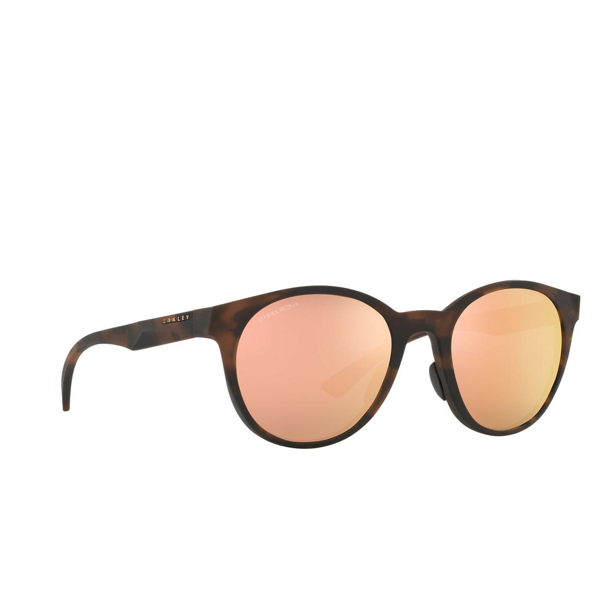 Oakley® Round Sunglasses: Spindrift OO9474 color Matte Brown Tortoise 947401 - three-quarters view.