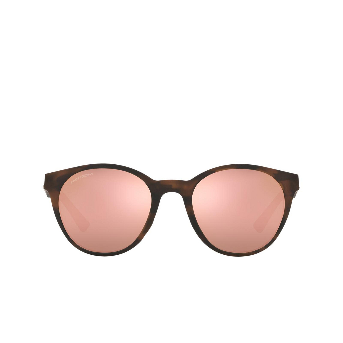 Oakley® Round Sunglasses: Spindrift OO9474 color Matte Brown Tortoise 947401 - front view.