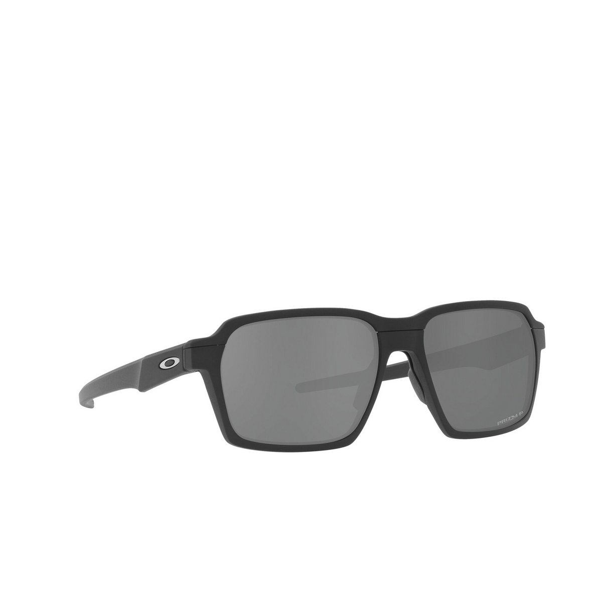 Oakley® Rectangle Sunglasses: Parlay OO4143 color Matte Black 414304 - three-quarters view.