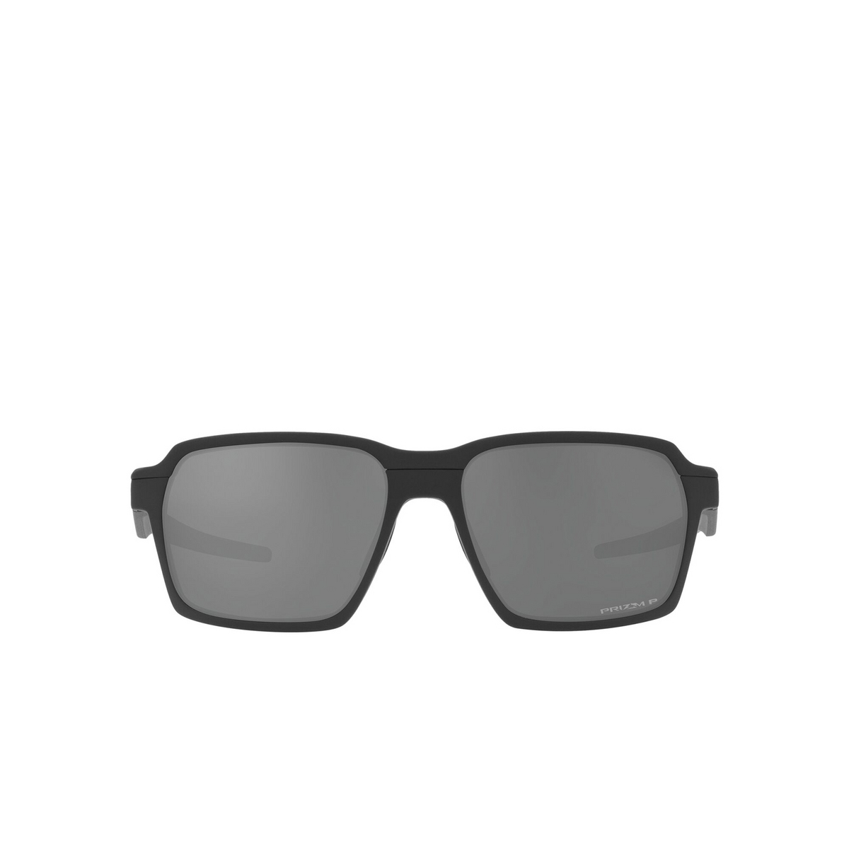 Oakley® Rectangle Sunglasses: Parlay OO4143 color Matte Black 414304 - front view.