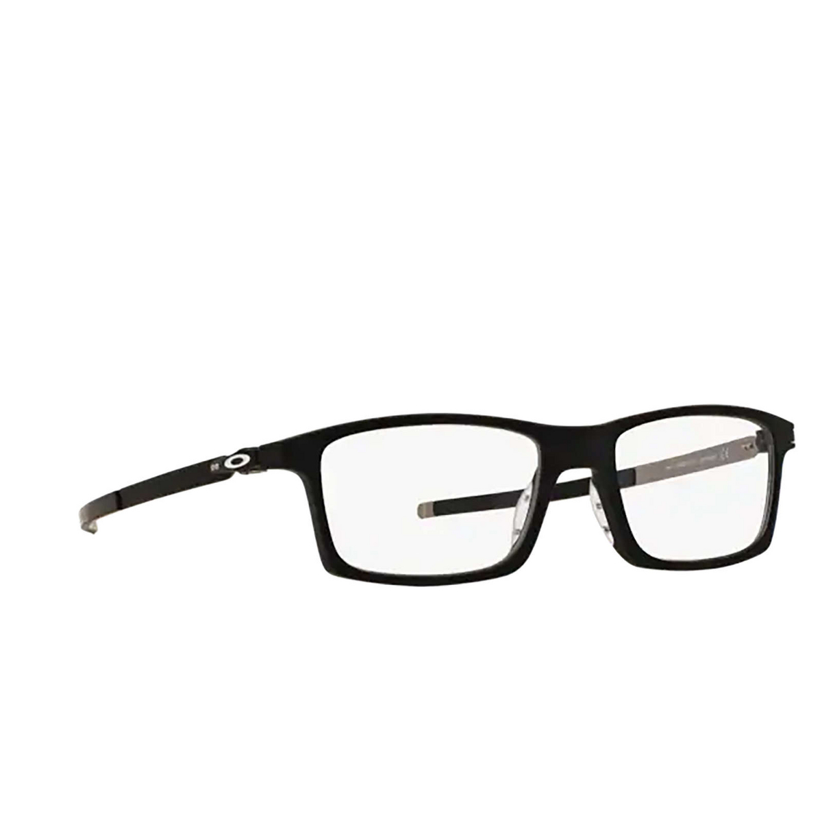 Oakley® Rectangle Eyeglasses: Pitchman OX8050 color Satin Black 805001 - three-quarters view.