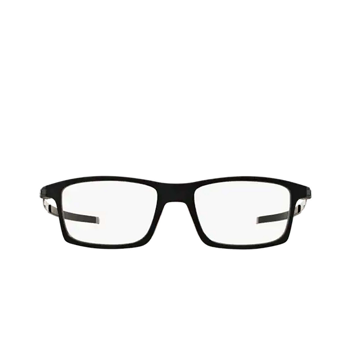 Oakley® Rectangle Eyeglasses: Pitchman OX8050 color Satin Black 805001 - front view.