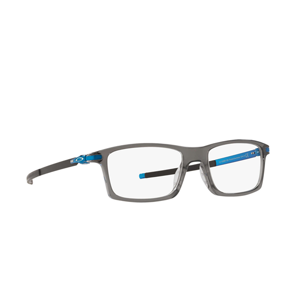 Oakley® Rectangle Eyeglasses: Pitchman OX8050 color Polished Grey Smoke 805012 - three-quarters view.