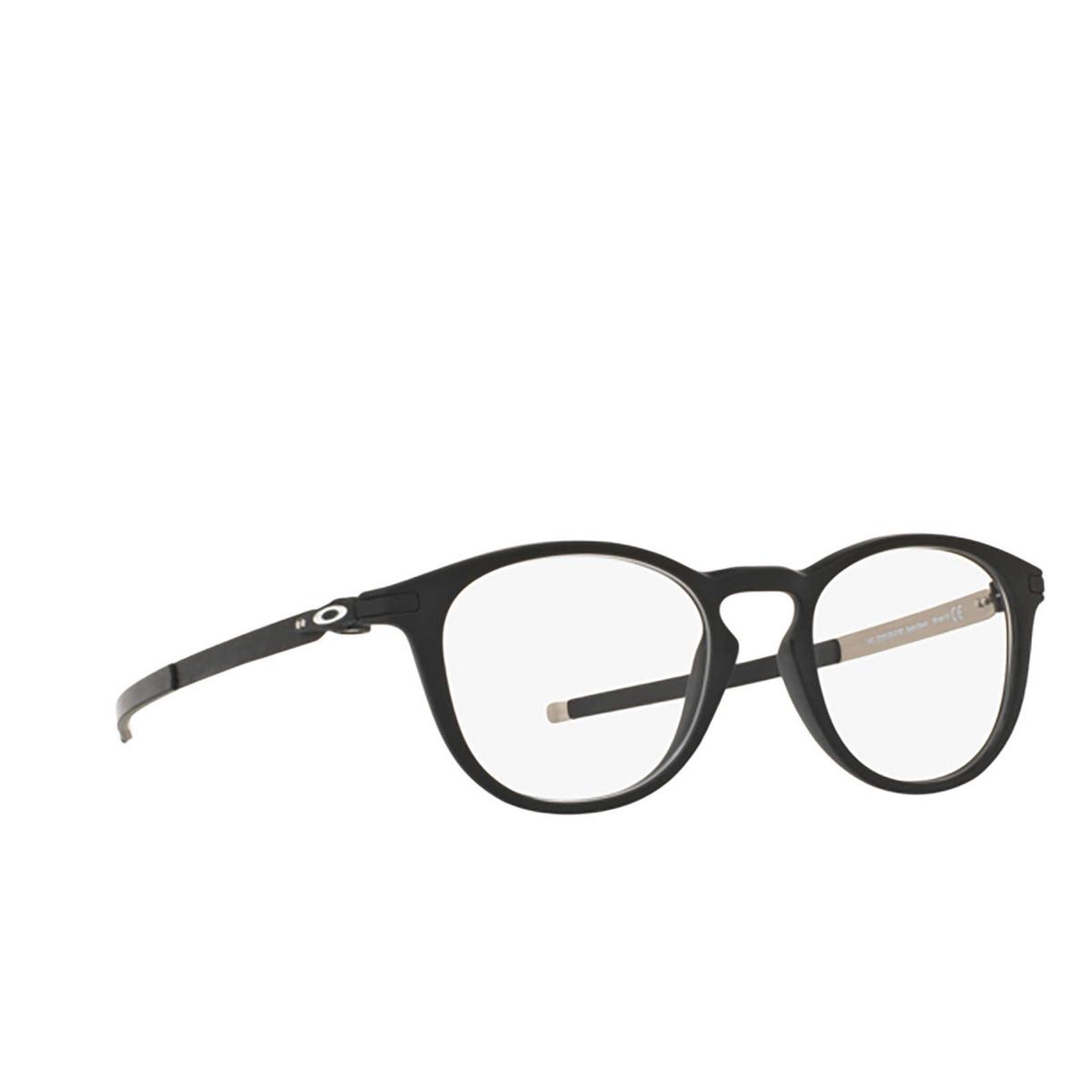Oakley® Round Eyeglasses: Pitchman R OX8105 color Satin Black 810501 - three-quarters view.