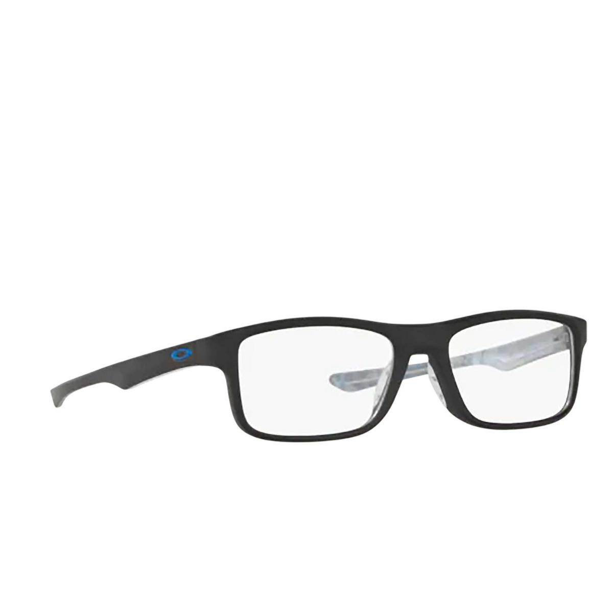 Oakley® Rectangle Eyeglasses: Plank 2.0 OX8081 color Satin Black 808101 - three-quarters view.