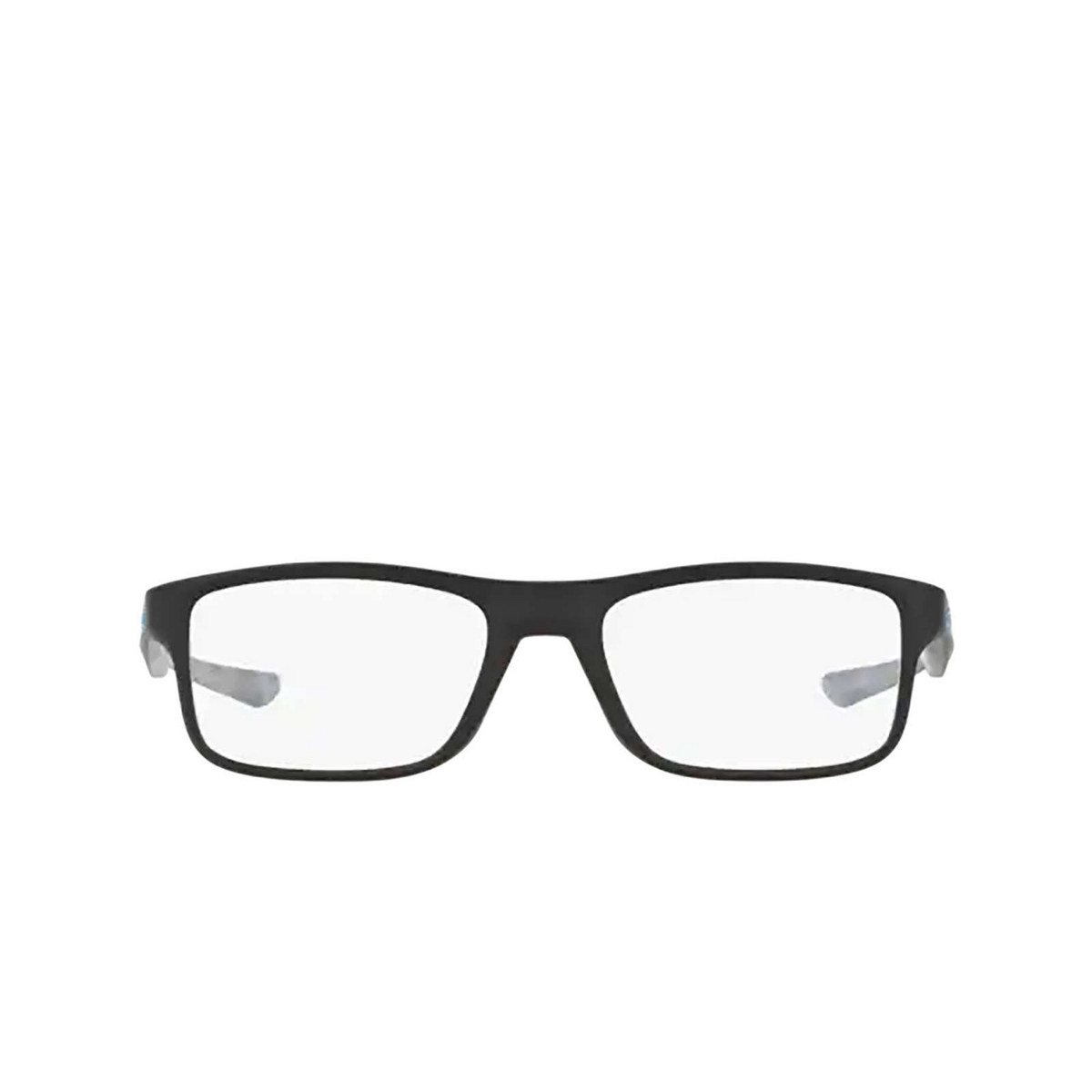 Oakley® Rectangle Eyeglasses: Plank 2.0 OX8081 color Satin Black 808101 - front view.