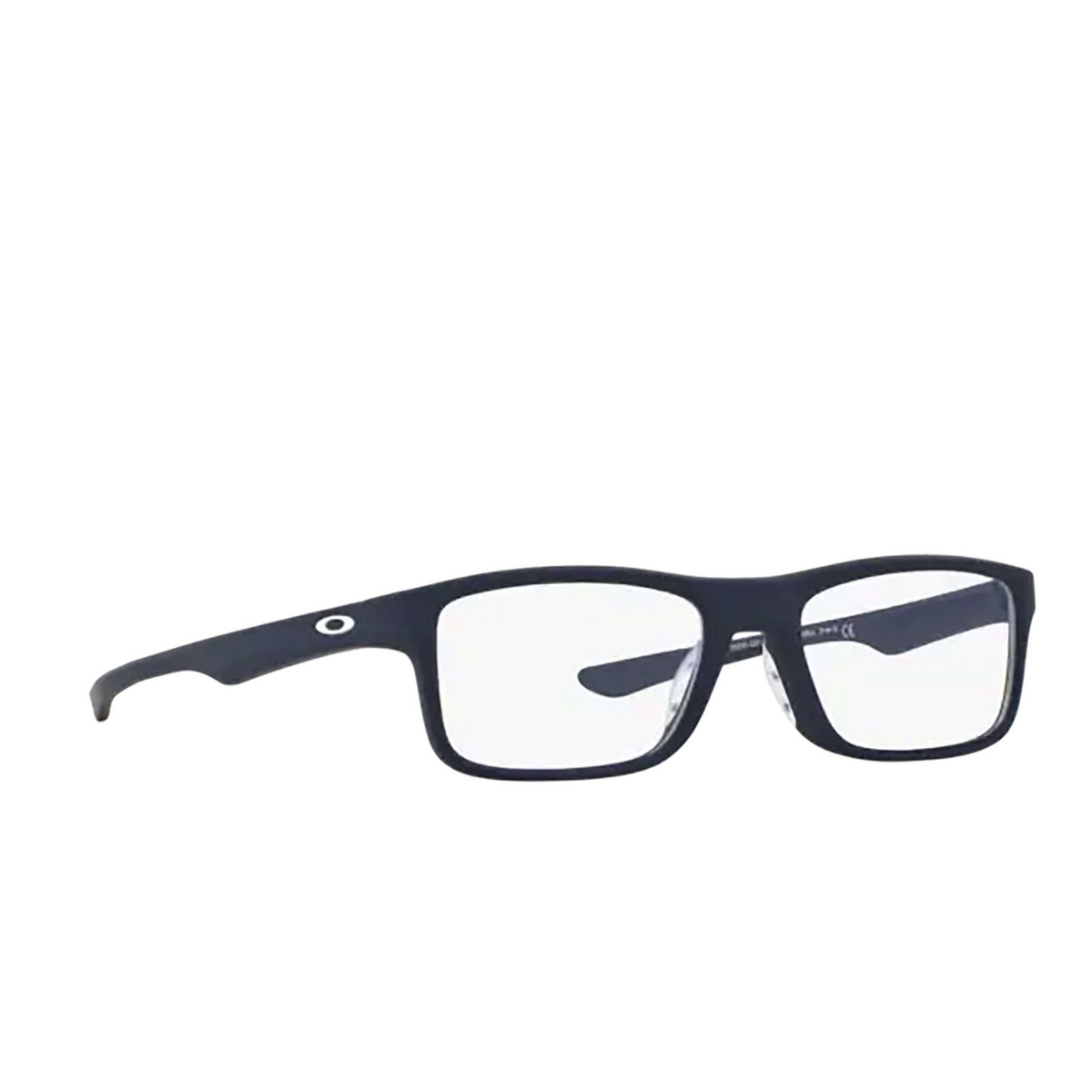 Oakley® Rectangle Eyeglasses: Plank 2.0 OX8081 color Softcoat Universal Blue 808103 - three-quarters view.
