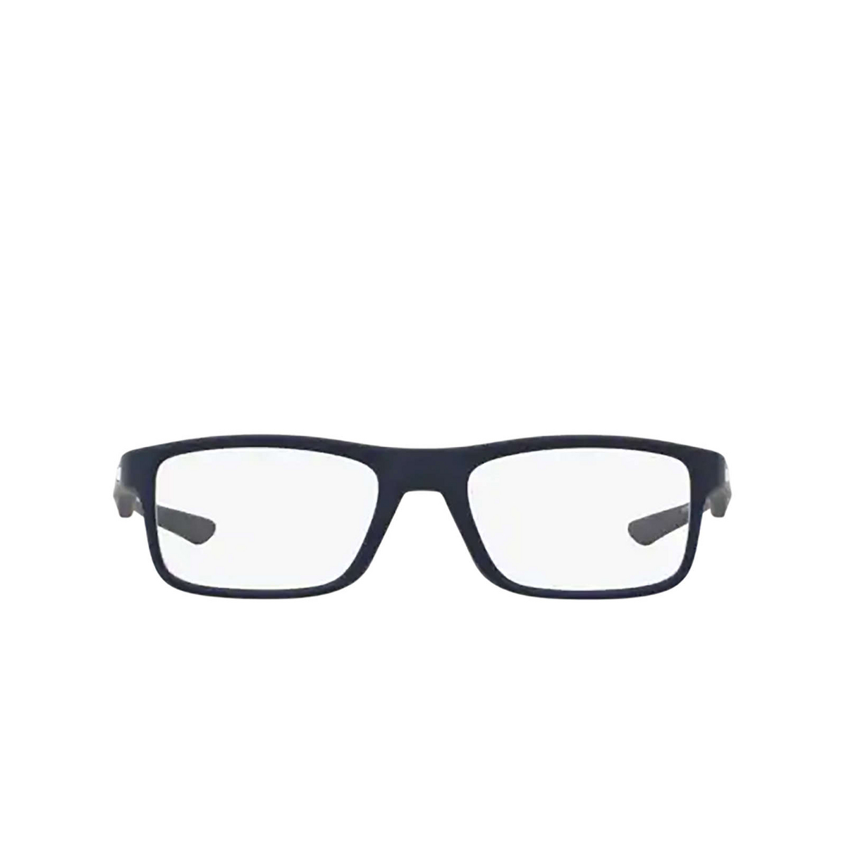 Oakley® Rectangle Eyeglasses: Plank 2.0 OX8081 color Softcoat Universal Blue 808103 - front view.