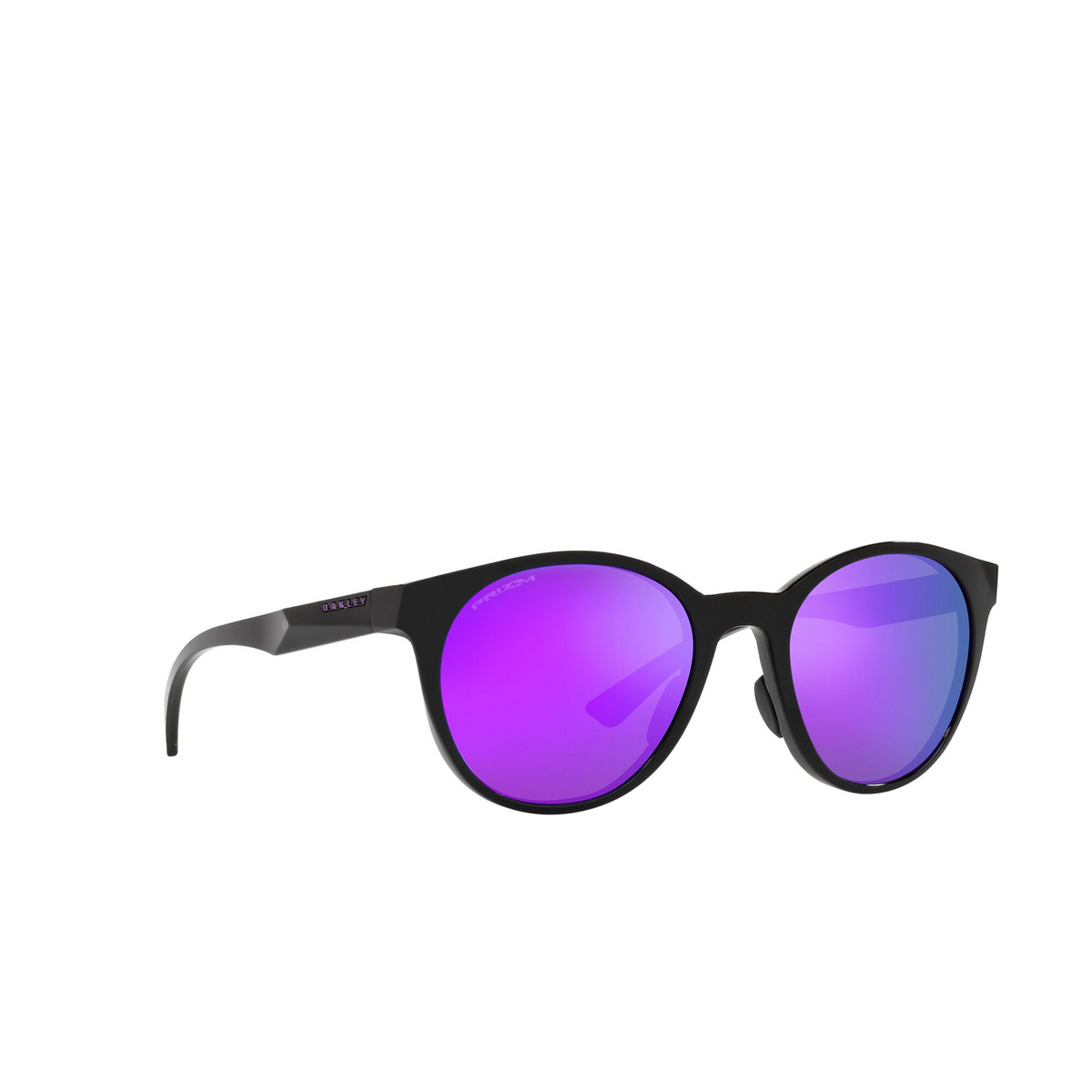 Oakley® Round Sunglasses: Spindrift OO9474 color Polished Black 947403 - three-quarters view.