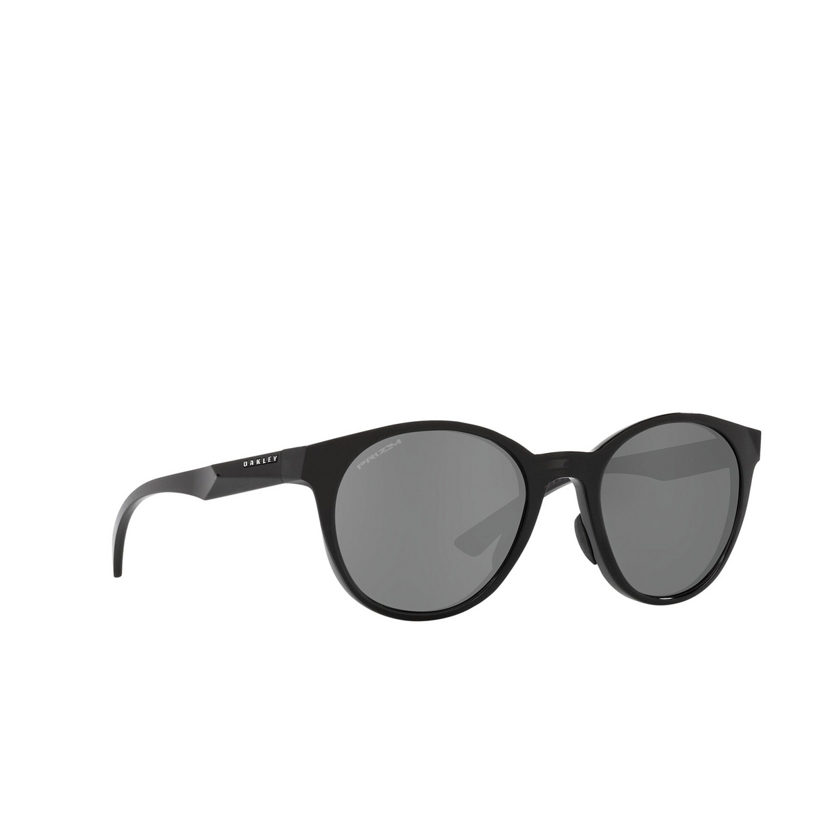 Oakley® Round Sunglasses: Spindrift OO9474 color Black Ink 947405 - three-quarters view.