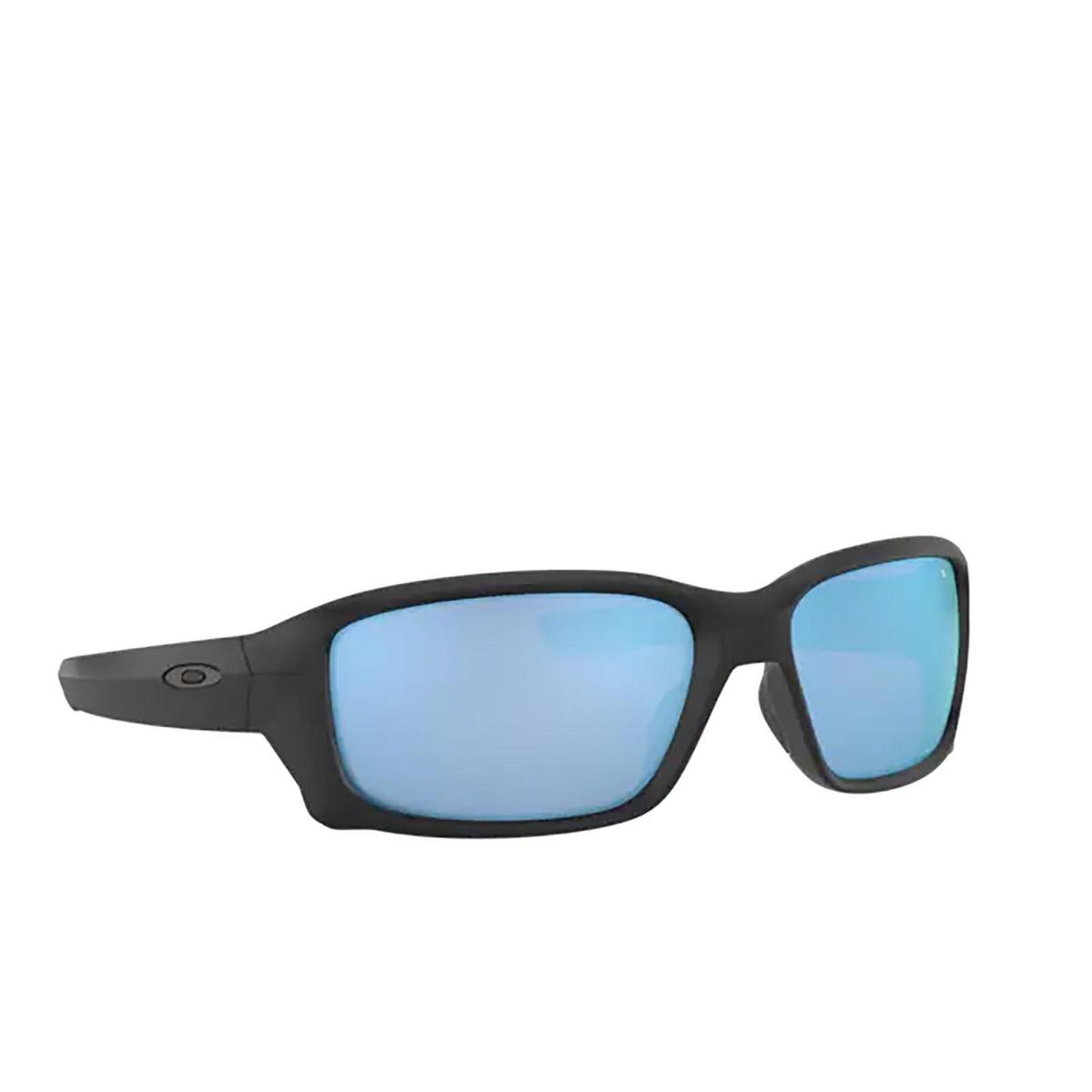 Oakley® Rectangle Sunglasses: Straightlink OO9331 color Matte Black 933105 - three-quarters view.