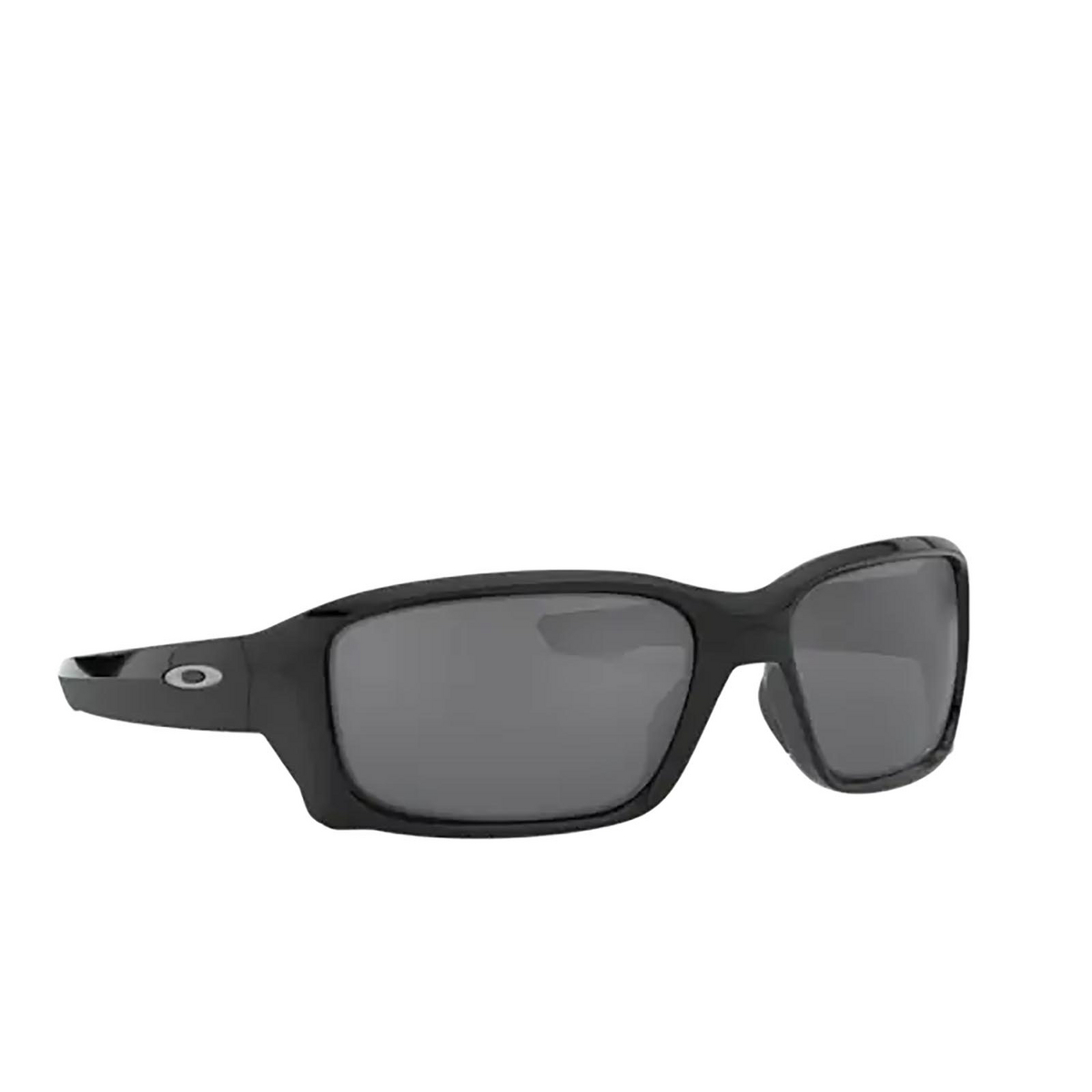 Oakley® Rectangle Sunglasses: Straightlink OO9331 color Polished Black 933116 - three-quarters view.