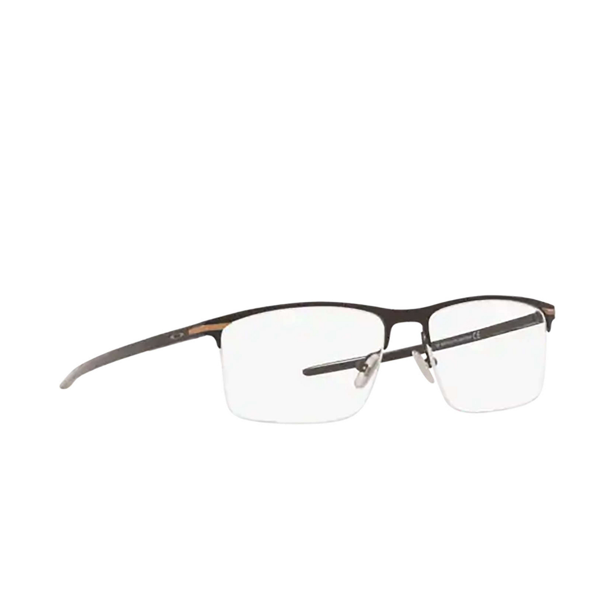 Oakley® Rectangle Eyeglasses: Tie Bar 0.5 OX5140 color Satin Black 514001 - three-quarters view.