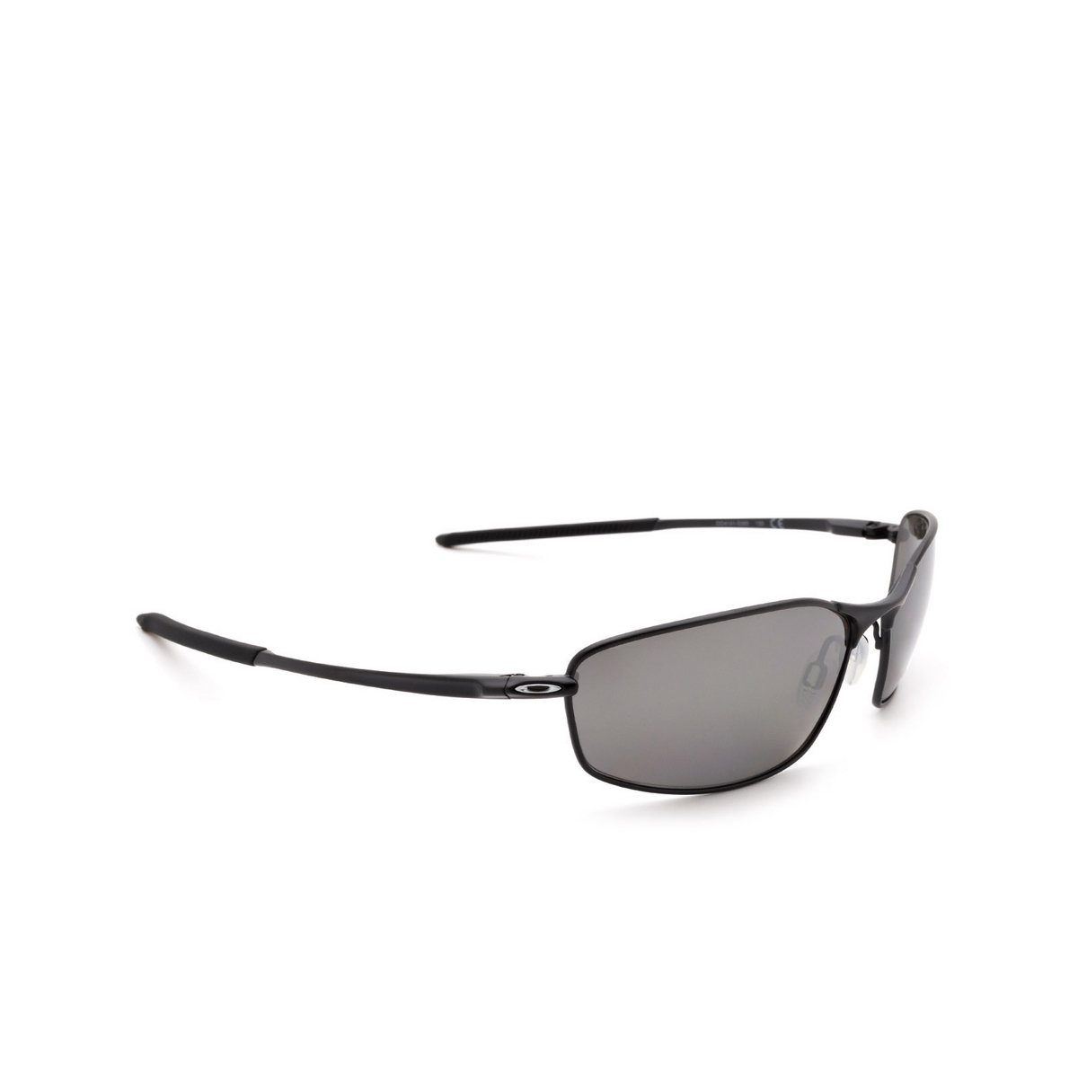 Oakley® Oval Sunglasses: Whisker OO4141 color Carbon 414101 - three-quarters view.