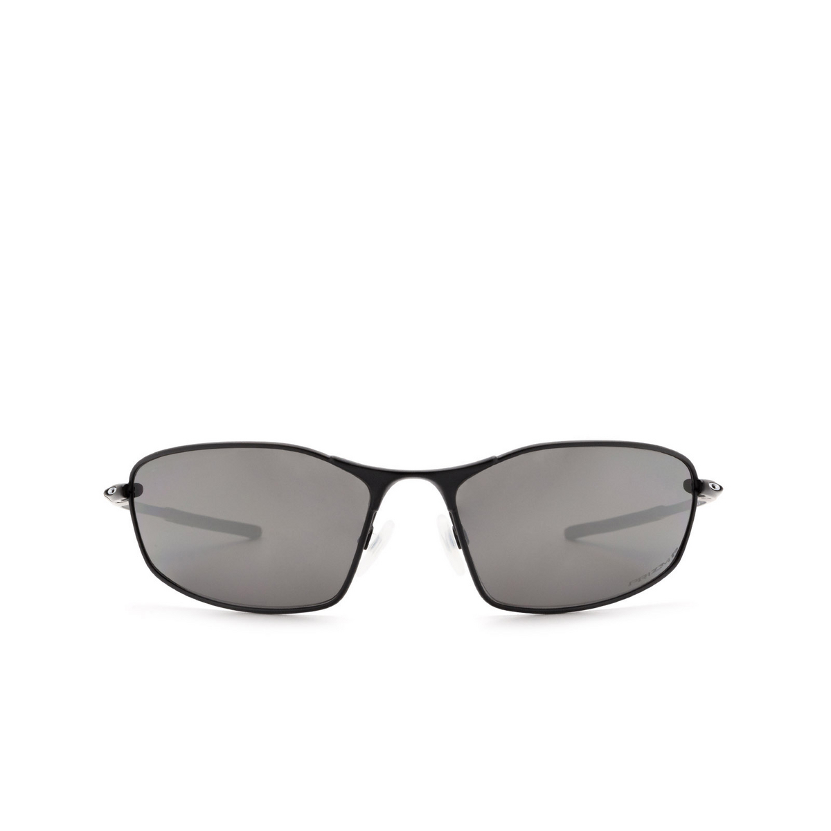 Oakley® Oval Sunglasses: Whisker OO4141 color Carbon 414101 - front view.