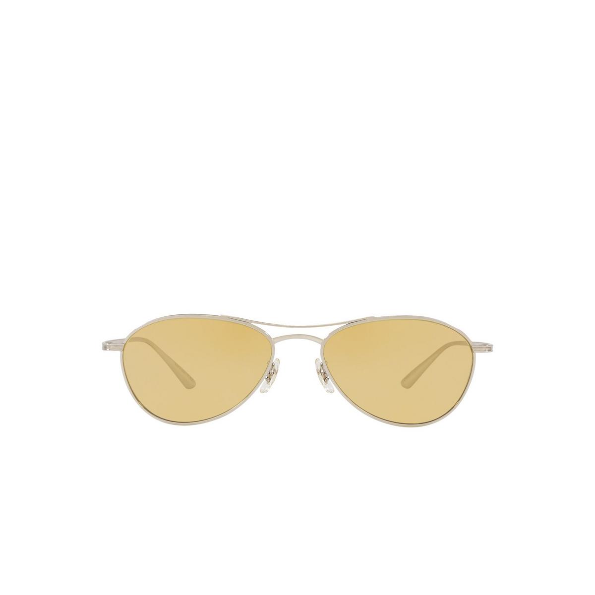 Oliver Peoples® Aviator Sunglasses: Aero La OV1245ST color Silver 50360F - front view.