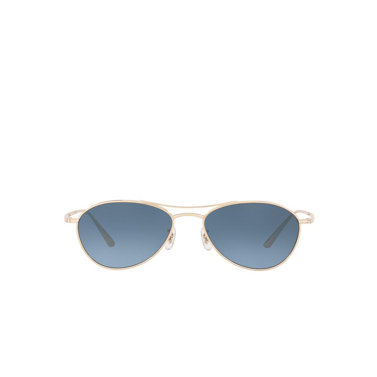 Oliver Peoples® Aviator Sunglasses: Aero La OV1245ST color Gold 5292Q8 - front view.