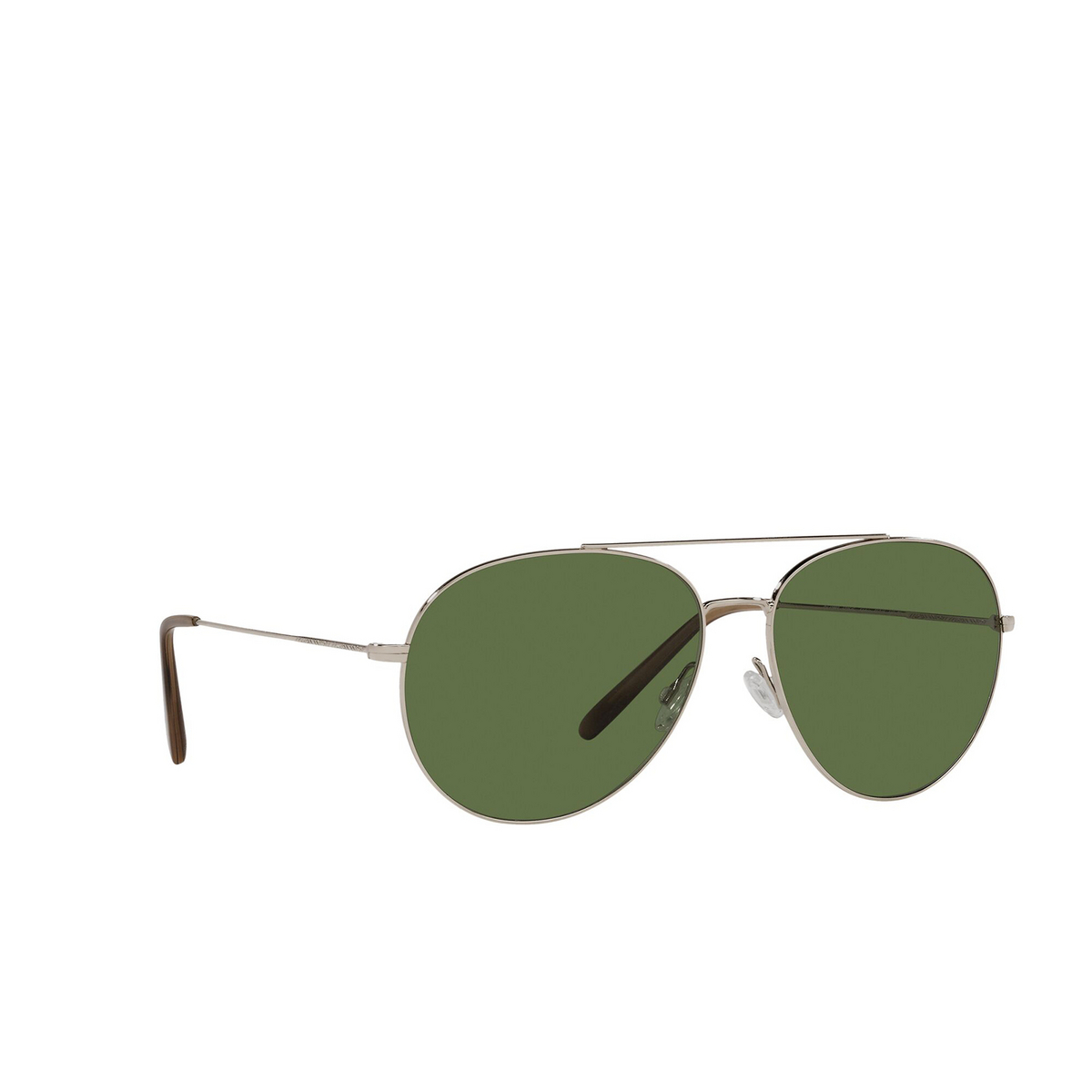 Oliver Peoples® Aviator Sunglasses: Airdale OV1286S color Soft Gold 50354E - three-quarters view.
