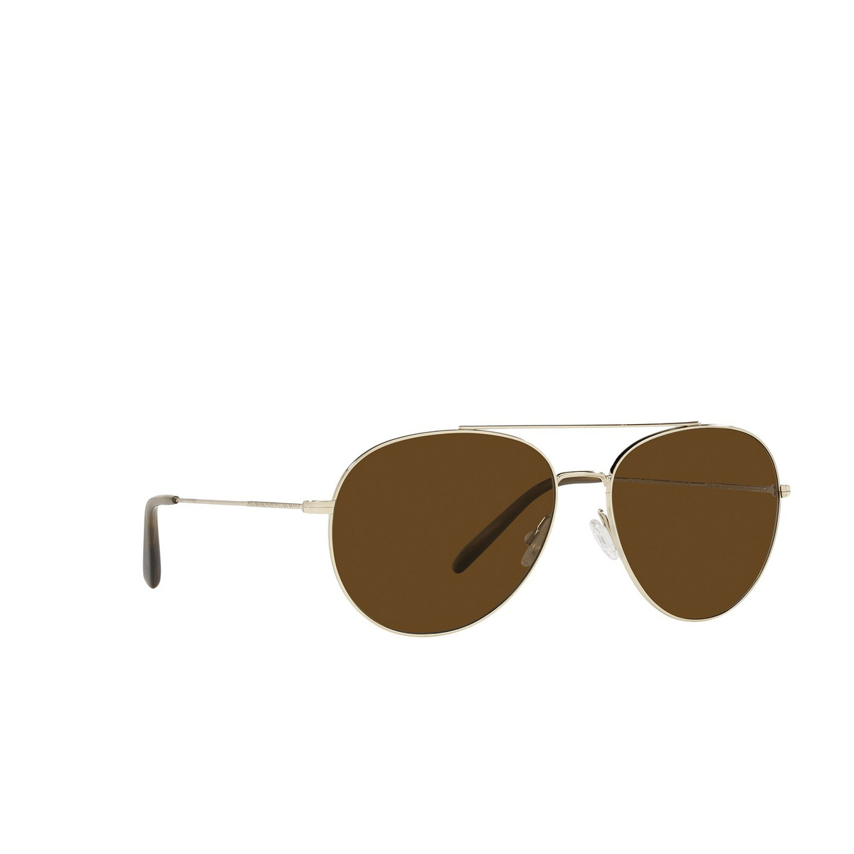 Oliver Peoples® Aviator Sunglasses: Airdale OV1286S color Soft Gold 503557 - three-quarters view.