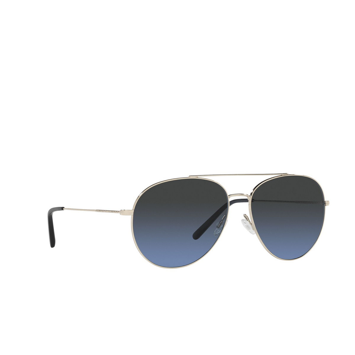 Oliver Peoples® Aviator Sunglasses: Airdale OV1286S color Soft Gold 5035P4 - three-quarters view.
