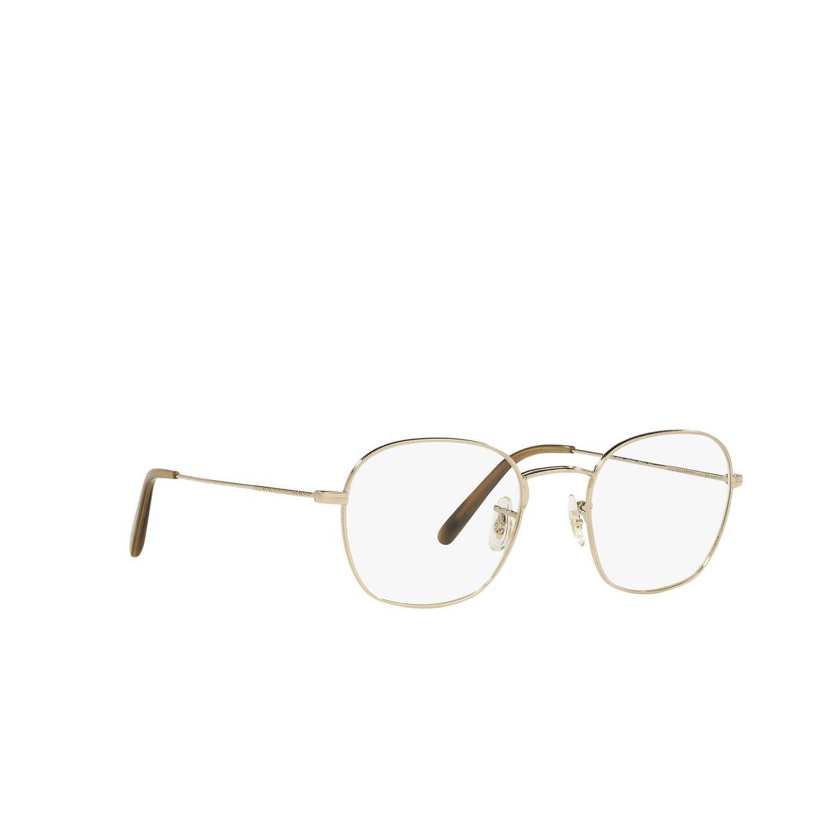 Oliver Peoples® Round Eyeglasses: Allinger OV1284 color Gold 5145 - three-quarters view.