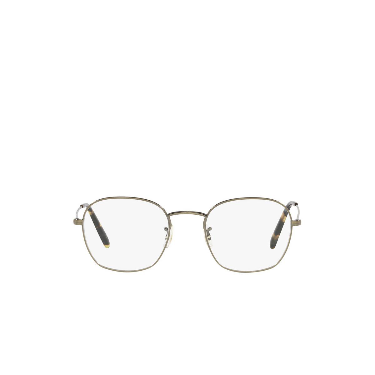 Oliver Peoples® Round Eyeglasses: Allinger OV1284 color Antique Gold 5284 - front view.