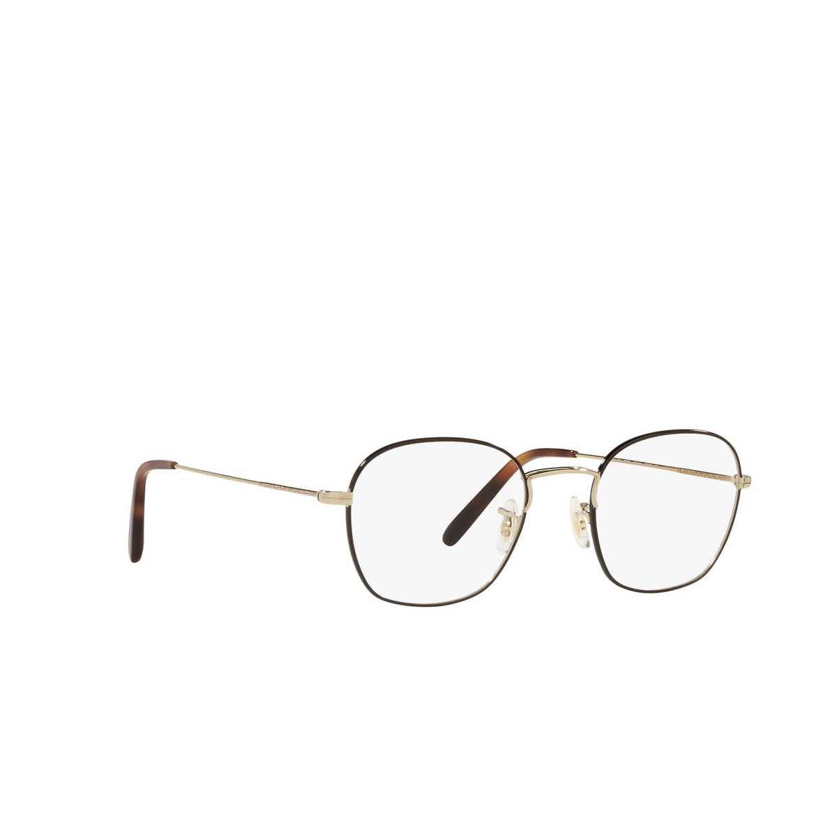 Oliver Peoples® Round Eyeglasses: Allinger OV1284 color Brushed Gold / Tortoise 5316 - three-quarters view.