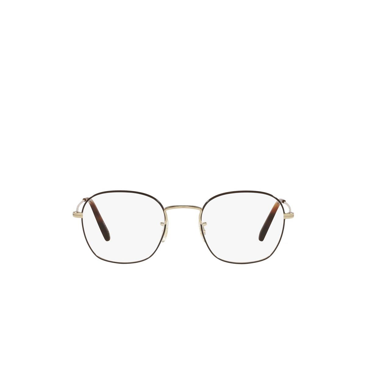 Oliver Peoples® Round Eyeglasses: Allinger OV1284 color Brushed Gold / Tortoise 5316 - front view.