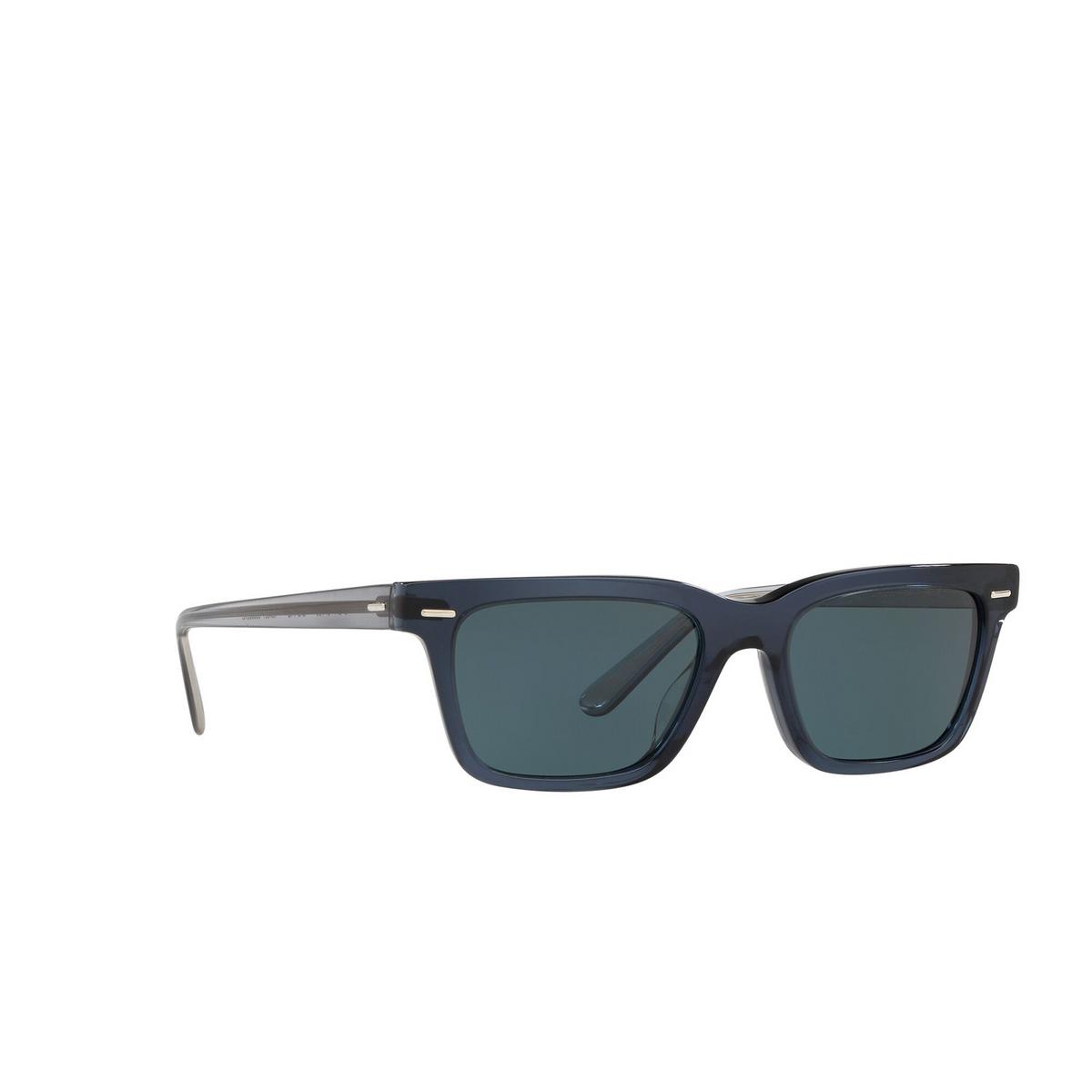 Oliver Peoples® Square Sunglasses: Ba Cc OV5388SU color Vivid Blue 16643R - three-quarters view.