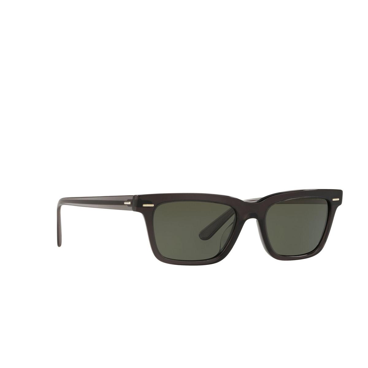 Oliver Peoples® Square Sunglasses: Ba Cc OV5388SU color Vivid Dark Grey 1665P1 - three-quarters view.