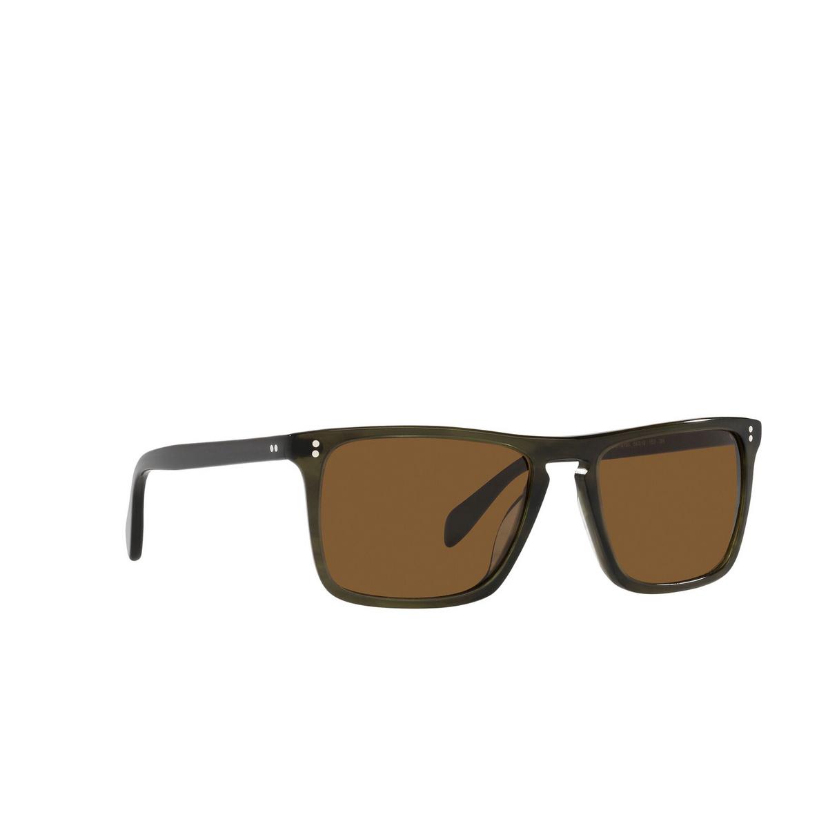 Oliver Peoples® Square Sunglasses: Bernardo OV5189S color Emerald Bark 168053 - three-quarters view.
